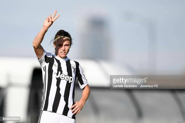 Cecilia Salvai of Juventus gestures during the match between Juventus Women and Res Roma Women at Juventus Center Vinovo on October 7 2017 in Vinovo...