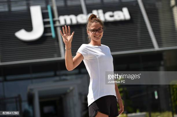 Cecilia Salvai of Juventus women arrives at J Medical on August 9 2017 in Turin Italy