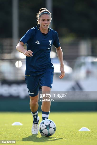Cecilia Salvai of Juventus Women during a training session at Vinovo on August 10 2017 in Turin Italy