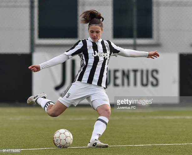 Cecilia Salvai of Juventus Women in action during the serie A match between Juventus Women and Mozzanica Women at Juventus Center Vinovo on February...