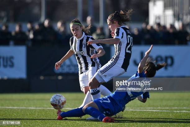 Cecilia Salvai of Juventus Women is tackled by Stefania Zanoletti of US Sassuolo Women during the match between Juventus Women and US Sassuolo Women...