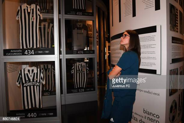 Cecilia Salvai of Juventus Women looks on during a visit to the Club's Museum on August 12 2017 in Turin Italy