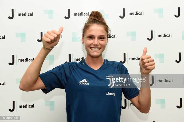 Cecilia Salvai of Juventus women poses before medical tests at J Medical on August 9 2017 in Turin Italy