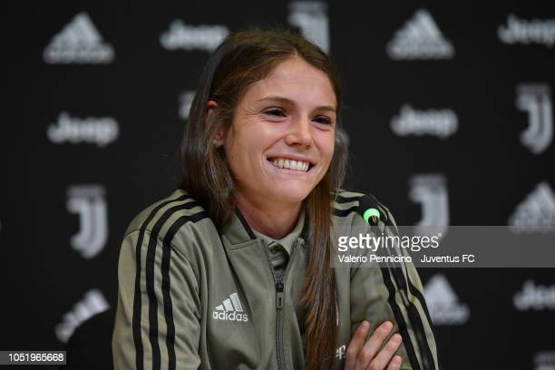 Cecilia Salvai of Juventus Women speaks to the media during a press conference at Juventus Center Vinovo on October 12, 2018 in Vinovo, Italy.