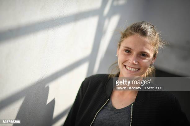Cecilia Salvai poses before a Juventus Women training session on October 5 2017 in Turin Italy