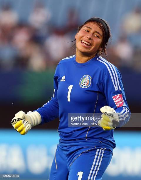 Cecilia Santiago goalkeeper of Mexico celebrates after the FIFA U20 Women's World Cup 2012 group A match between Mexico and Switzerland at Miyagi...