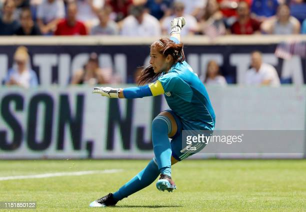 Cecilia Santiago of Mexico clears the ball in the first half against the the United States at Red Bull Arena on May 26 2019 in Harrison New Jersey