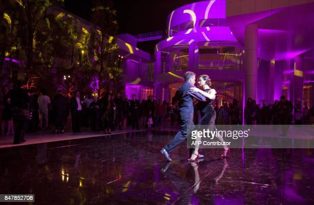 Cecilia Slongo and Daniel Ledesma tango for patrons and artist professionals at the Getty Museum's opening celebration for the Pacific Standard Time:...