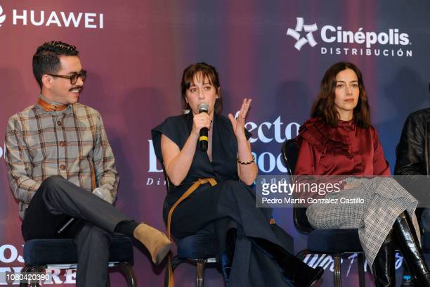 Cecilia Suarez speaks next to Manolo Caro and Mariana Treviño during a press conference to present the 'Perfect Unknowns' a play directed by Manolo...