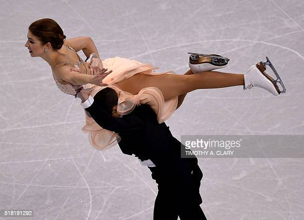 Cecilia Torn and Jussiville Partanen of Finland during Ice Dance Short Dance competition at the ISU World Figure Skating Championships at TD Garden...