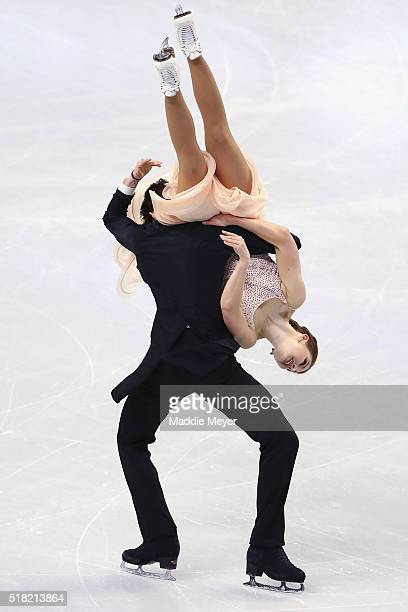 Cecilia Torn and Jussiville Partanen of Finland skate in the Ice Dance Short program during day 3 of the ISU World Figure Skating Championships 2016...