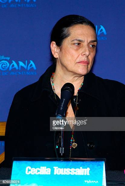 Cecilia Toussaint talks during a press conference of the new Disney's movie 'Moana on November 28 2016 in Mexico City Mexico