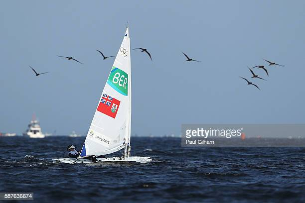 Cecilia Wollmann of Bermuda competes in the Women's Laser Radial class on Day 4 of the Rio 2016 Olympic Games at the Marina da Gloria on August 9...