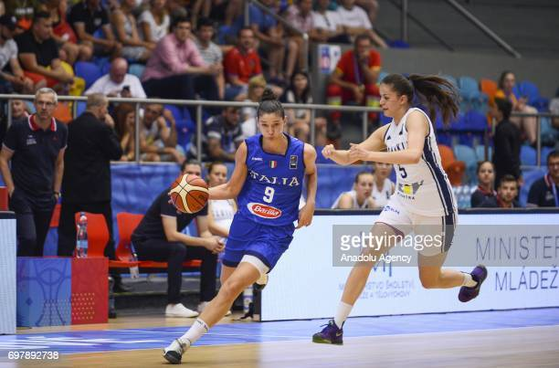 Cecilia Zandalasini of Italy in action against Veronika Remenarova of Slovakia during the 2017 FIBA EuroBasket Women qualifications match between...