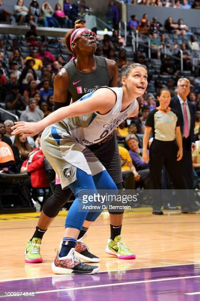 Cecilia Zandalasini of the Minnesota Lynx boxes out against Essence Carson of the Los Angeles Sparks on August 2 2018 at STAPLES Center in Los...