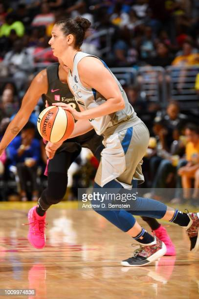 Cecilia Zandalasini of the Minnesota Lynx handles the ball against the Los Angeles Sparks on August 2 2018 at STAPLES Center in Los Angeles...