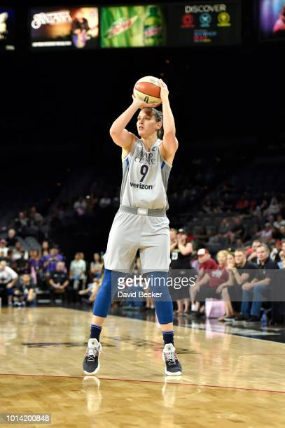 Cecilia Zandalasini of the Minnesota Lynx shoots the ball against the Las Vegas Aces on August 9 2018 at the Mandalay Bay Events Center in Las Vegas...
