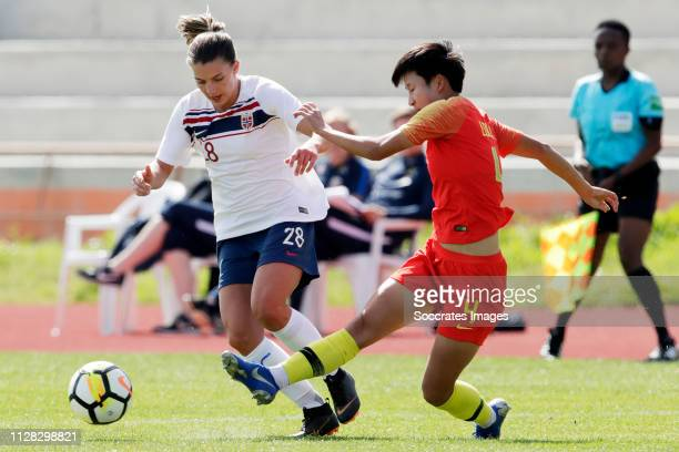 Cecilie Kvamme of Norway Women, Lou Jiahui of China Women during the Algarve Cup Women match between China PR v Norway at the Estadio Municipal de...