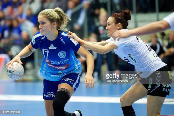 Cecilie Morch Hansen of Randers HK in action during the Santander Final4 3 4 place match between Randers HK and Team Esbjerg in Blue Water Dokken on...