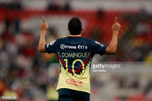 Cecilio Dominguez of America celebrates after scoring the first goal of his team during the 7th round match between America and Monarcas as part of...