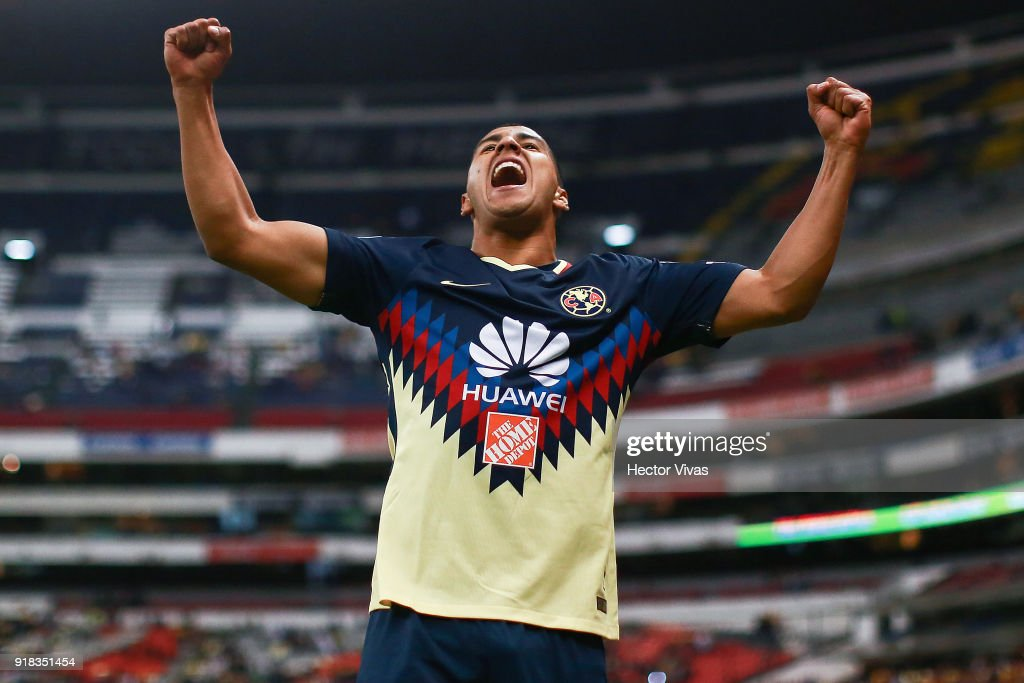 Cecilio Dominguez of America celebrates after scoring the first goal of his team during the 7th round match between America and Monarcas as part of the Torneo Clausura 2018 Liga MX at Azteca Stadium on February 13, 2018 in Mexico City, Mexico.