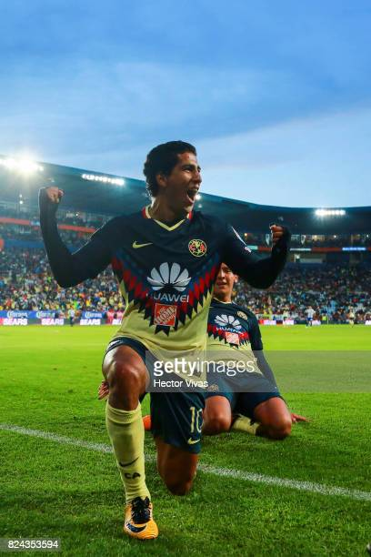 Cecilio Dominguez of America celebrates after scoring the second goal of his team during the 2nd round match between Pachuca and America as part of...