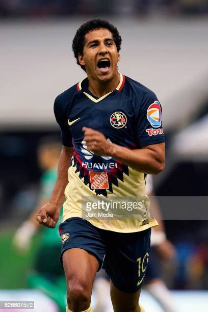 Cecilio Dominguez of America celebrates after scoring the second goal of his team during the 3rd round match between America and Pumas UNAM as part...