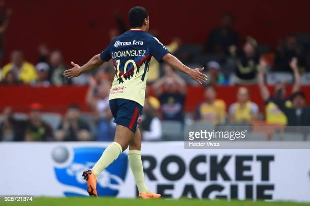 Cecilio Dominguez of America celebrates after scoring the third goal of his team during the match between America and Tauro FC as part of the...
