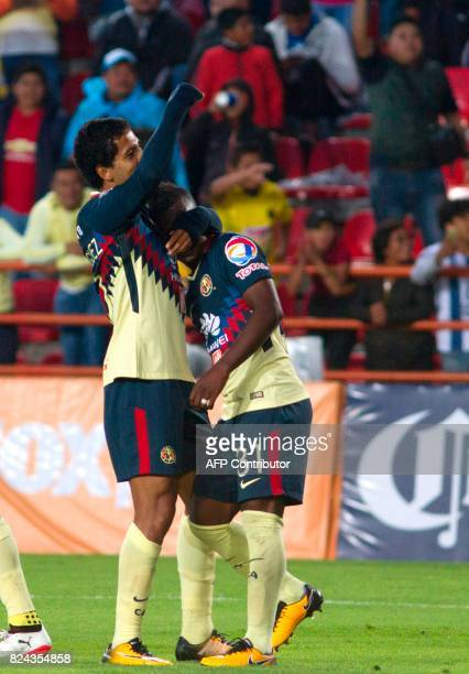 Cecilio Dominguez of America celebrates his goal against Pachuca during their Mexican Apertura 2017 Tournament football match at Hidalgo stadium on...
