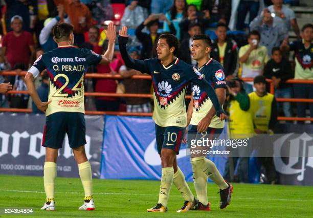 Cecilio Dominguez of America celebrates his goal with his teammates during their Mexican Apertura 2017 Tournament football match at Hidalgo stadium...