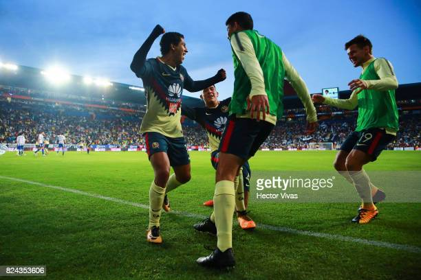 Cecilio Dominguez of America celebrates with teammates after scoring the second goal of his team during the 2nd round match between Pachuca and...