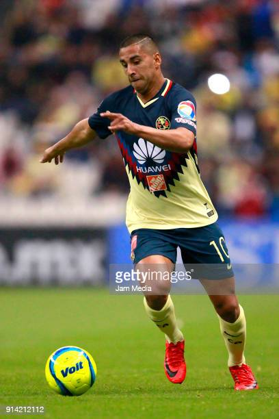 Cecilio Dominguez of America drives the ball during the 5th round match between America and Lobos BUAP as part of the Torneo Clausura 2018 Liga MX at...