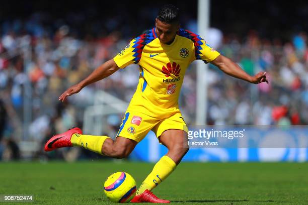 Cecilio Dominguez of America kicks the ball during the 3rd round match between Pumas UNAM and America as part of the Torneo Clausura 2018 Liga MX at...