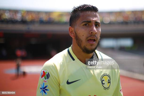 Cecilio Dominguez of America looks on after scoring the third goal of his team during the 11th round match between Pumas UNAM and America as part of...