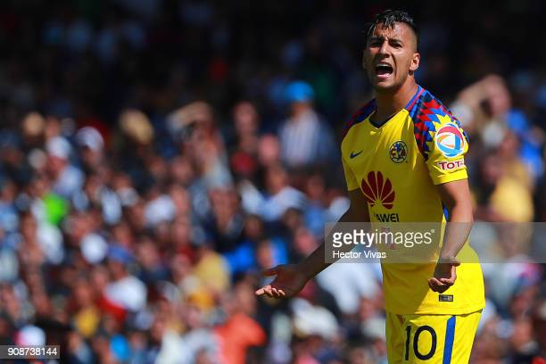 Cecilio Dominguez of America reacts during the 3rd round match between Pumas UNAM and America as part of the Torneo Clausura 2018 Liga MX at Olimpico...