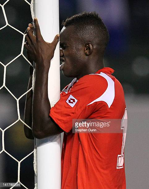 Cecilio Waterman of Panama reacts after missing on a scoring opportunity against Honduras during the second day of 2012 CONCACAF Men's Olympic...
