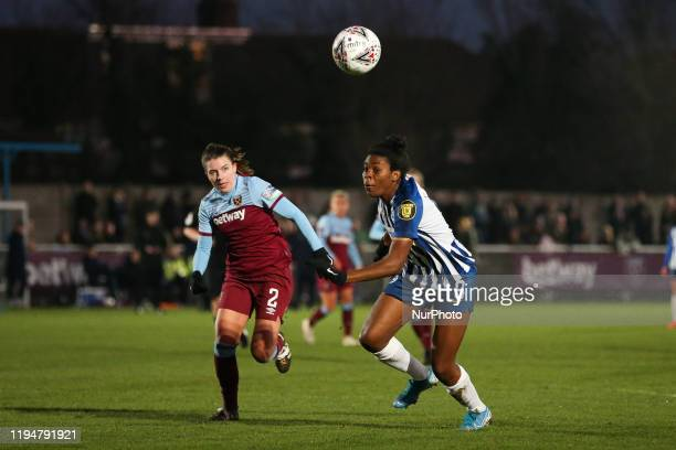 Cecillie Kvamme of West Ham United Women and Ini Umotong of Brighton and Hove Albion Women running for the ball during the Barclays FA Women's Super...