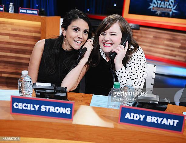 Cecily Strong and Aidy Bryant attend The Night Of Too Many Start Live Telethon on March 8 2015 in New York City