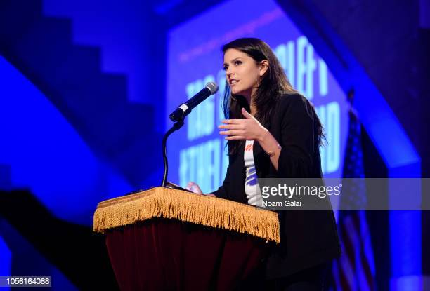 Cecily Strong speaks during Swing Left's The Last Weekend Election Rally at Cooper Union on November 1 2018 in New York City