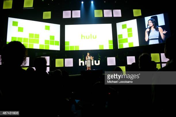 Cecily Strong speaks onstage at Hulu's Upfront Presentation on April 30 2014 in New York City