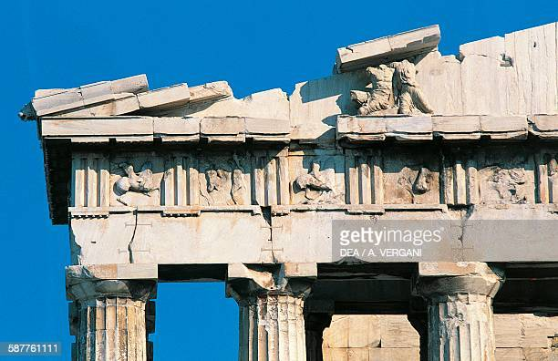Cecrops mythical founder of Athens and his daughter Aglauros frieze on the west pediment of the Parthenon by the sculptor Phidias Acropolis of Athens...
