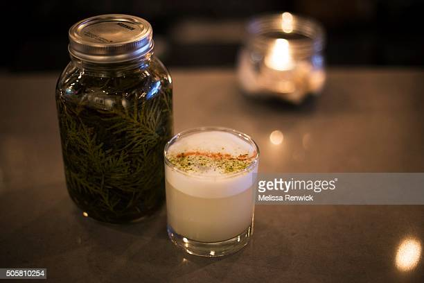 TORONTO ON JANUARY 09 A cedar gin sour with cedarinfused gin is served at Antler restaurant on Dundas Street West