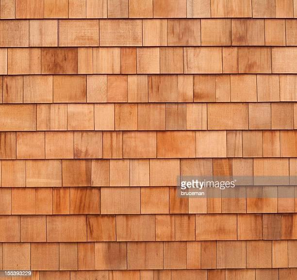 Cedar wood panels siding on house