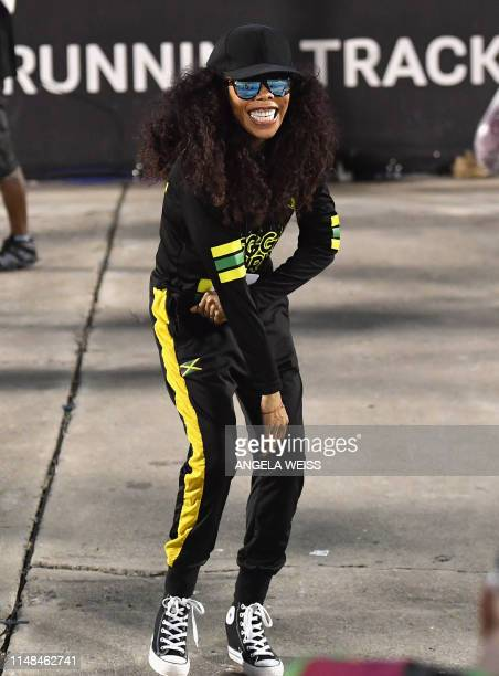 Cedella Marley dances after the friendly football match Jamaica vs Panama at the National Stadium in Kingston Jamaica on May 19 2019 In Jamaica the...