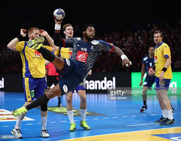 Cederic Sothaindo of France throws a goal during the 25th IHF Men's World Championship 2017 Quarter Final match between France and Sweden at Stade...