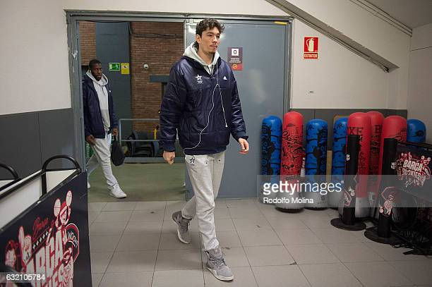 Cedi Osman #6 of Anadolu Efes Istanbul arriving tl the Arena before the 2016/2017 Turkish Airlines EuroLeague Regular Season Round 18 game between FC...