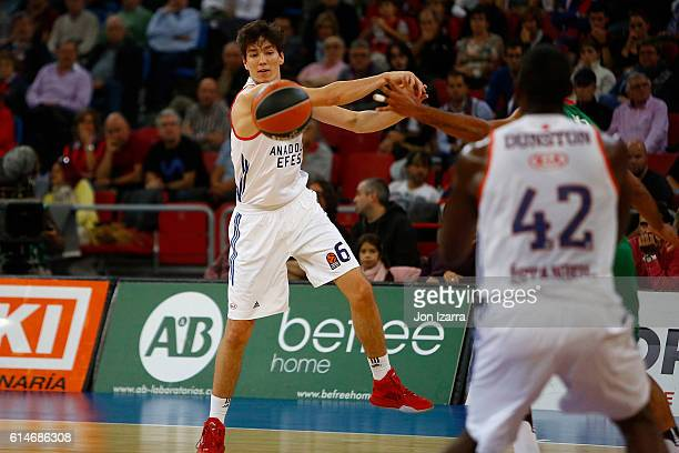 Cedi Osman #6 of Anadolu Efes Istanbul in action during the 2016/2017 Turkish Airlines EuroLeague Regular Season Round 1 game between Baskonia...