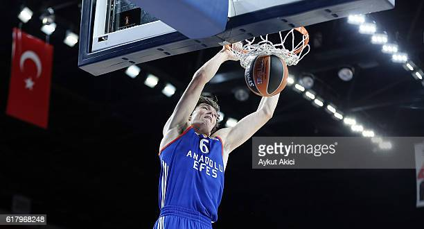 Cedi Osman #6 of Anadolu Efes Istanbul in action during the 2016/2017 Turkish Airlines EuroLeague Regular Season Round 3 game between Anadolu Efes...