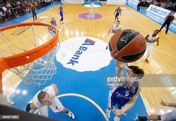 Cedi Osman #6 of Anadolu Efes Istanbul in action during the Turkish Airlines Euroleague Basketball Top 16 Date 8 game between Anadolu Efes Istanbul v...