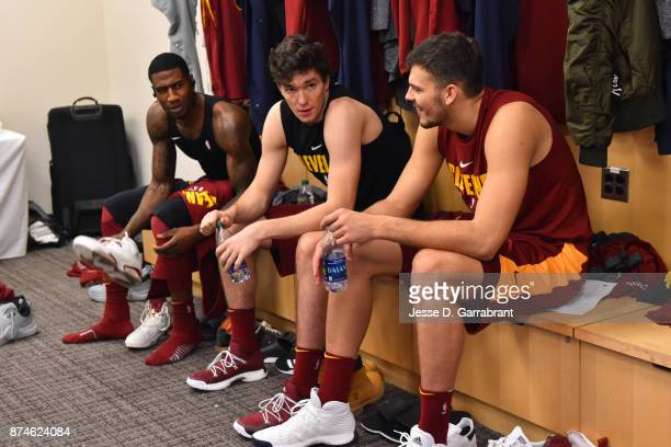 Cedi Osman and Ante Zizic of the Cleveland Cavaliers get ready before the game against the New York Knicks at Madison Square Garden on November 13...